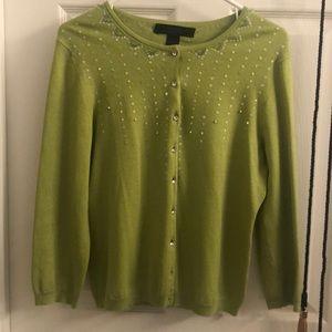 Lime green silk cashmere cardigan